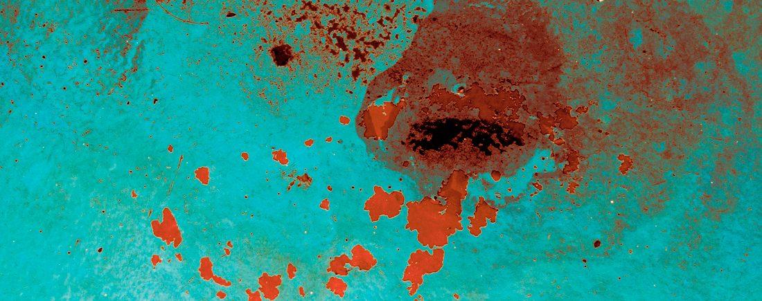 Wasserränder, Rostfarbe auf Fähre